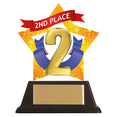 Mini-Star 2nd Place Acrylic Plaque 100mm : New 2019