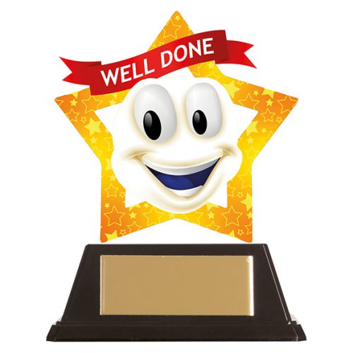 Mini-Star Well Done Smile Acrylic Plaque 100mm : New 2019
