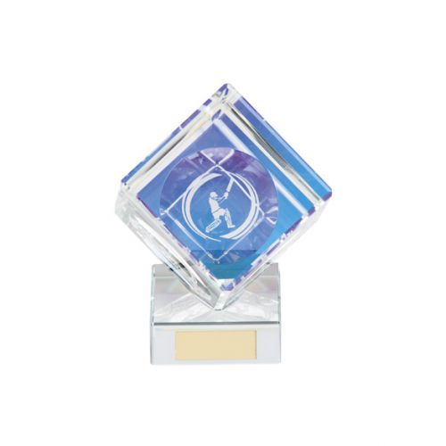 Victorious Cricket Cube Crystal Trophy Award 90mm