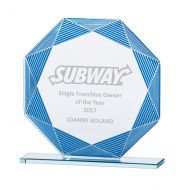 Jade Vortex Glass Trophy Award Blue and Silver 145mm