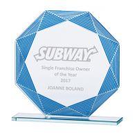 Jade Vortex Glass Trophy Award Blue and Silver 165mm