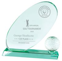 Muirfield Jade Glass Trophy Award 215mm : New 2019