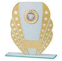 Tri-Star Glitter Glass Trophy Award Gold and Silver 165mm : New 2019