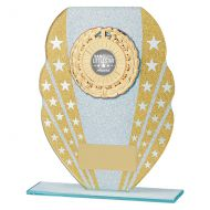 Tri-Star Glitter Glass Trophy Award Gold and Silver 185mm : New 2019