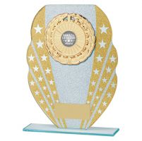 Tri-Star Glitter Glass Trophy Award Gold and Silver 205mm : New 2019