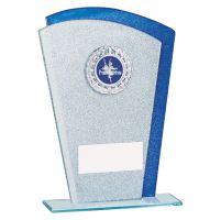 Polaris Glitter Glass Trophy Award Silver and Blue 175mm : New 2019