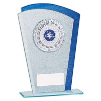 Polaris Glitter Glass Trophy Award Silver and Blue 195mm : New 2019