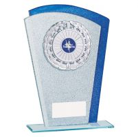 Polaris Glitter Glass Trophy Award Silver and Blue 210mm : New 2019