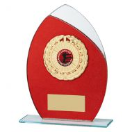 Draco Glitter Glass Trophy Award Red 185mm : New 2019
