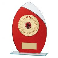 Draco Glitter Glass Trophy Award Red 205mm : New 2019