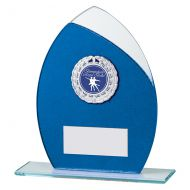 Draco Glitter Glass Trophy Award Blue 165mm : New 2019