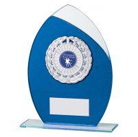 Draco Glitter Glass Trophy Award Blue 185mm : New 2019