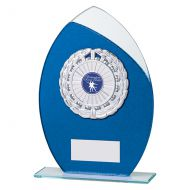 Draco Glitter Glass Trophy Award Blue 205mm : New 2019