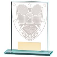 Millennium Badminton Jade Glass Trophy Award 110mm : New 2020