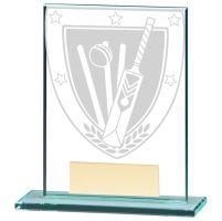 Millennium Cricket Jade Glass Trophy Award 110mm : New 2020