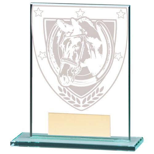 Millennium Equestrian Jade Glass Trophy Award 110mm : New 2020