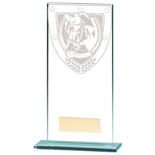 Millennium Equestrian Jade Glass Trophy Award 180mm : New 2020