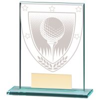Millennium Golf Ball Jade Glass Trophy Award 110mm : New 2020