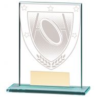 Millennium Rugby Jade Glass Trophy Award 110mm : New 2020
