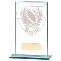 Millennium Rugby Jade Glass Trophy Award 140mm : New 2020