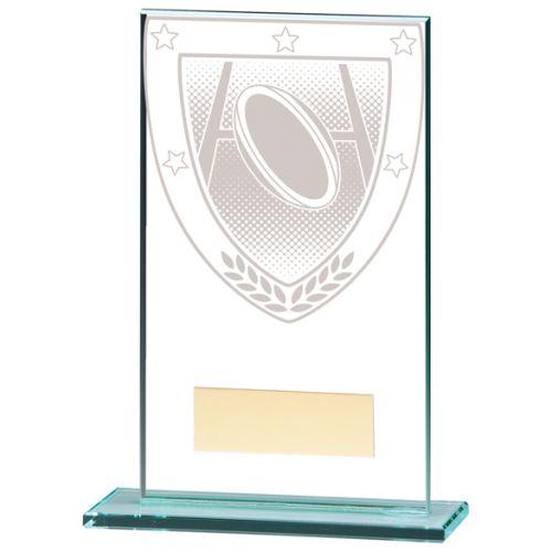 Millennium Rugby Jade Glass Trophy Award 140mm : New 2020