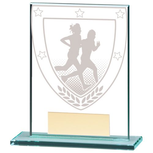 Millennium Running Jade Glass Trophy Award 110mm : New 2020