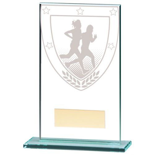 Millennium Running Jade Glass Trophy Award 140mm : New 2020