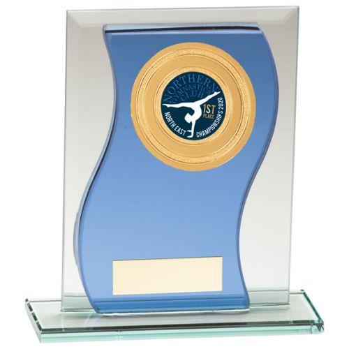 Azzuri Wave Multisport Mirror Glass Trophy Award Blue and Silver 125mm : New 2020