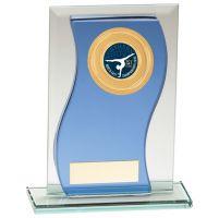 Azzuri Wave Multisport Mirror Glass Trophy Award Blue and Silver 165mm : New 2020