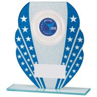 Tri-Star Glitter Glass Trophy Award Blue and Silver 165mm : New 2020