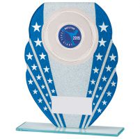 Tri-Star Glitter Glass Trophy Award Blue and Silver 185mm : New 2020