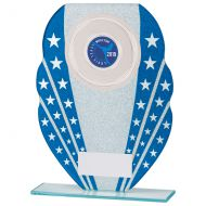Tri-Star Glitter Glass Trophy Award Blue and Silver 205mm : New 2020