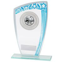 Galaxy Multisport Glass Trophy Award Blue and Silver 170mm : New 2020