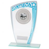Galaxy Multisport Glass Trophy Award Blue and Silver 190mm : New 2020