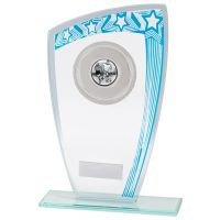 Galaxy Multisport Glass Trophy Award Blue and Silver 210mm : New 2020