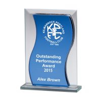 Azzuri Wave Mirror Glass Trophy Award 145mm