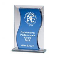 Azzuri Wave Mirror Glass Trophy Award 165mm