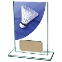 Colour Curve Badminton Jade Glass Trophy Award 125mm : New 2020