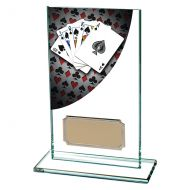 Colour Curve Poker Jade Glass Trophy Award 140mm : New 2019