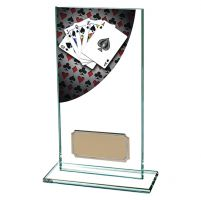 Colour Curve Poker Jade Glass Trophy Award 160mm : New 2019