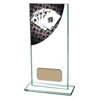 Colour Curve Poker Jade Glass Trophy Award 180mm : New 2019