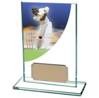 Colour-Curve Cricket Jade Glass Trophy Award 125mm : New 2020