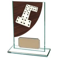 Colour Curve Dominoes Jade Glass Trophy Award 125mm : New 2020