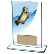 Colour Curve Angling - Fishing Jade Glass Trophy Award 125mm : New 2020