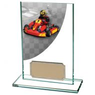 Colour Curve Go-Kart Jade Glass Trophy Award 125mm : New 2020