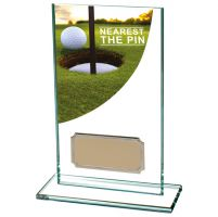 Nearest Pin Golf Trophy Colour-Curve Jade Crystal 140mm : New 2019