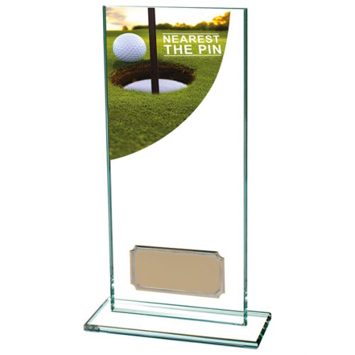 Nearest Pin Golf Trophy Colour-Curve Jade Crystal 180mm : New 2019