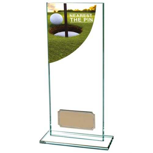Nearest The Pin Golf Trophy Colour Curve Jade Crystal 200mm : New 2019