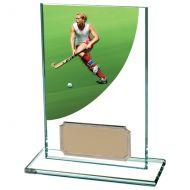Colour Curve Hockey Jade Glass Trophy Award 125mm : New 2020