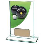 Colour Curve Lawn Bowls Jade Glass Trophy Award 125mm : New 2020